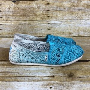 Toms Crochet Ombré Turquoise Slip On Shoes